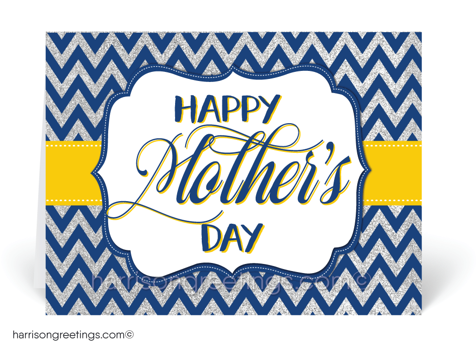 Navy and Yellow Chevron Mother's Day Cards