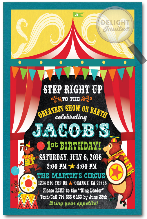 Retro Circus Carnival Birthday Invitations DI393 Ministry