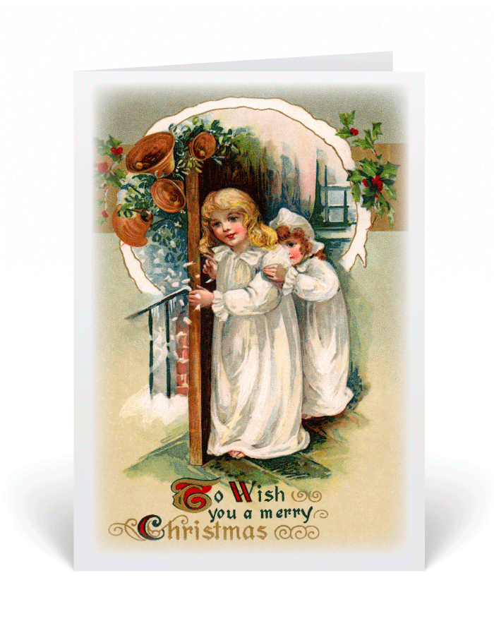 Old Fashioned Victorian Vintage Christmas Card 36056 Ministry
