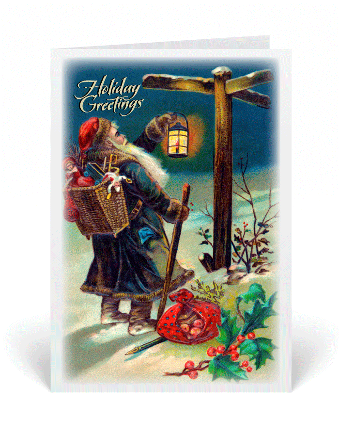Vintage Victorian Santa Christmas Cards [36061] : Ministry Greetings ...