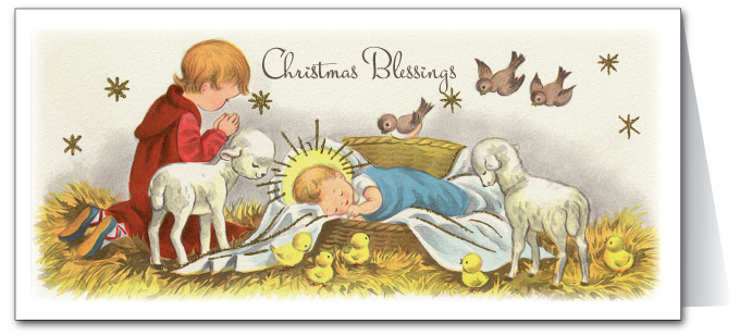Vintage Nativity Christmas Card
