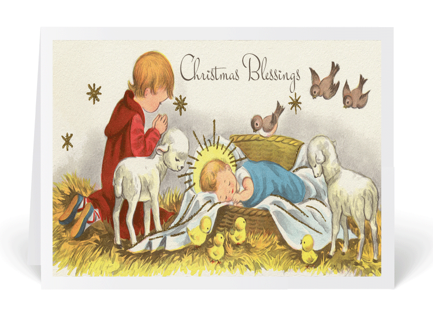Vintage 1950s Nativity Christmas Card 36516 Ministry Greetings