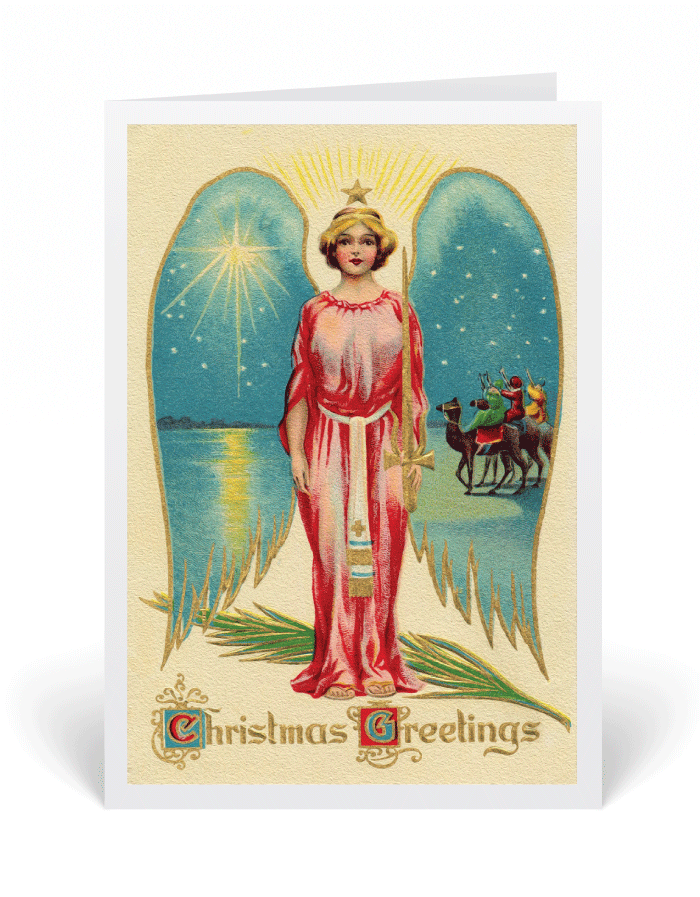 Vintage Angel Victorian Christmas Card 36535 Ministry Greetings