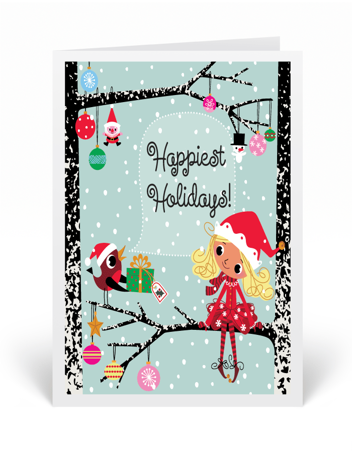 Retro Whimsical Elf Holiday Greeting Card [36684] : Ministry ...