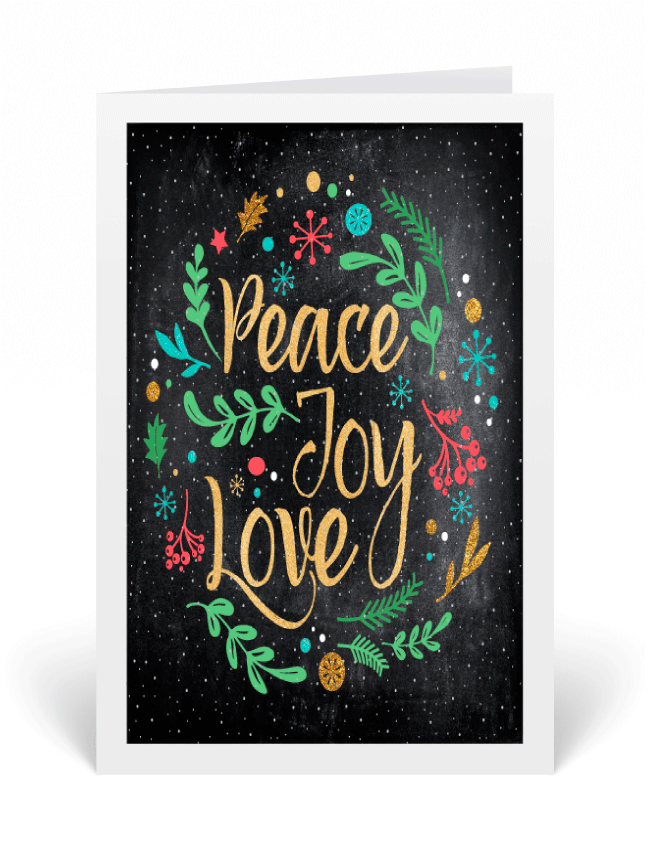 Vintage Chalkboard Typography Holiday Greeting Card
