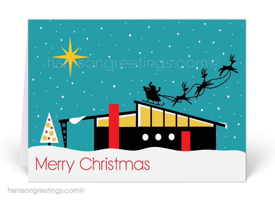 Mid-Century Modern House Christmas Card [36850] : Ministry Greetings ...