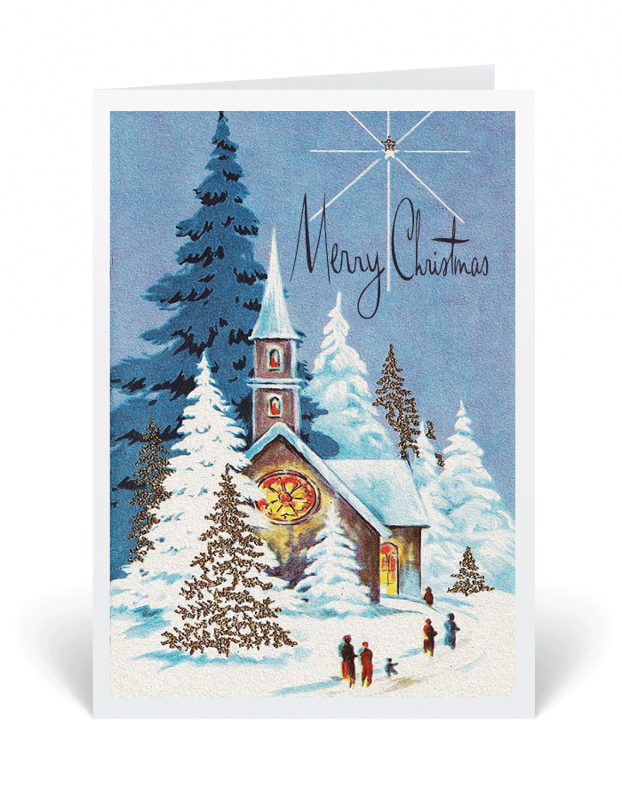 vintage 1950s holiday christmas card 36981 ministry