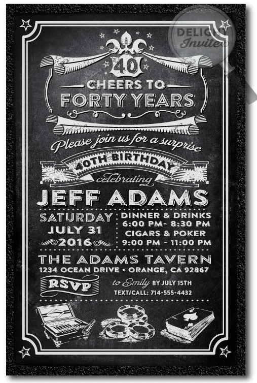 Over The Hill 40th Birthday Party Invitations For Men