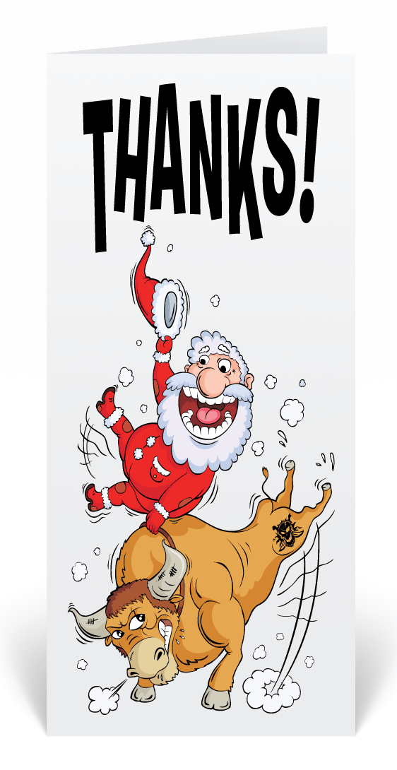 Bull Riding Santa Christmas Greeting Cards