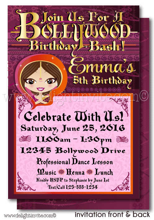 Printable Digital Bollywood Party Birthday Invitation