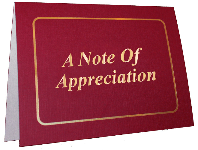 Note of Appreciation Foil Card