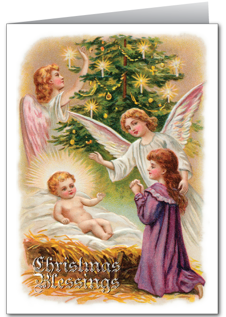 Vintage Christmas Angel and Jesus