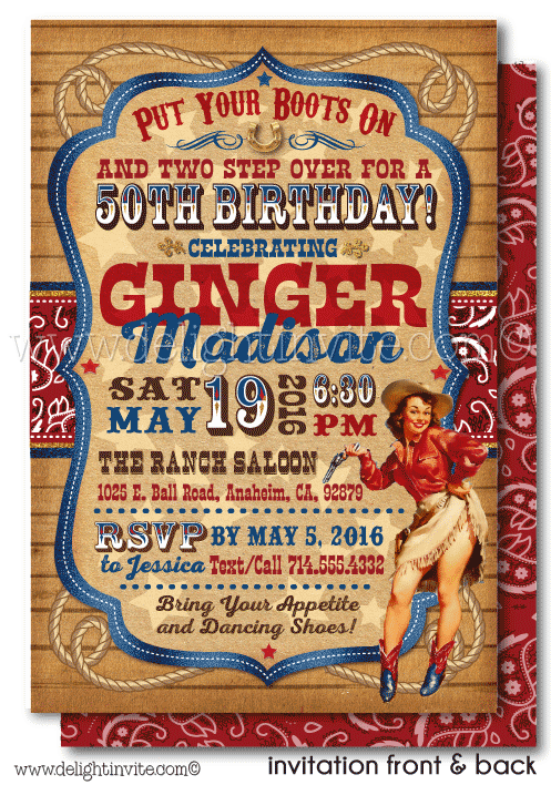 Vintage Cowgirl 50th Birthday Invitations For Women Di 553fc