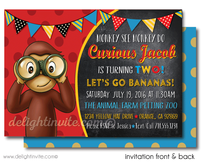 curious george 1st birthday invitations di395fc