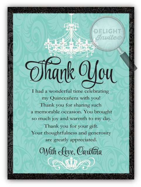 Chandelier Quinceneara Thank You Cards Di 111ty Ministry