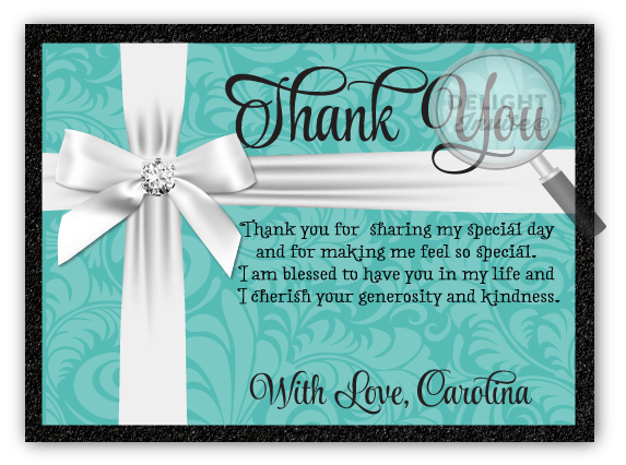 Breakfast At Tiffany S Quinceanera Thank You Cards Di 119ty