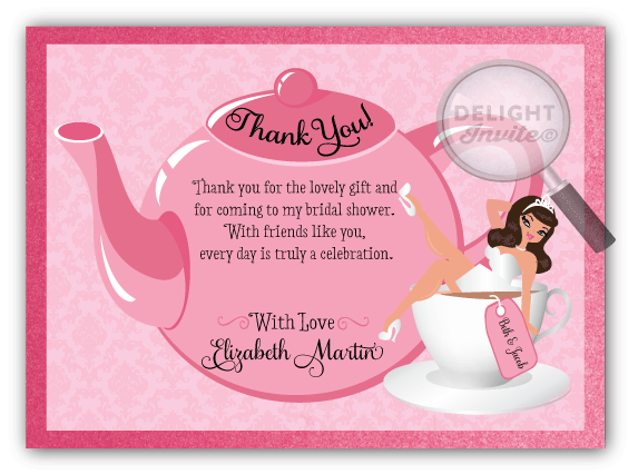 tea party bridal shower thank you cards