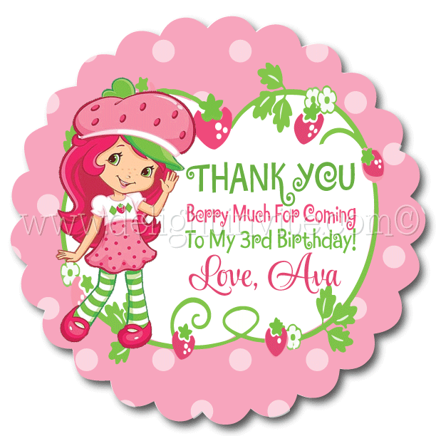 Strawberry Shortcake Birthday Party Favor Tags