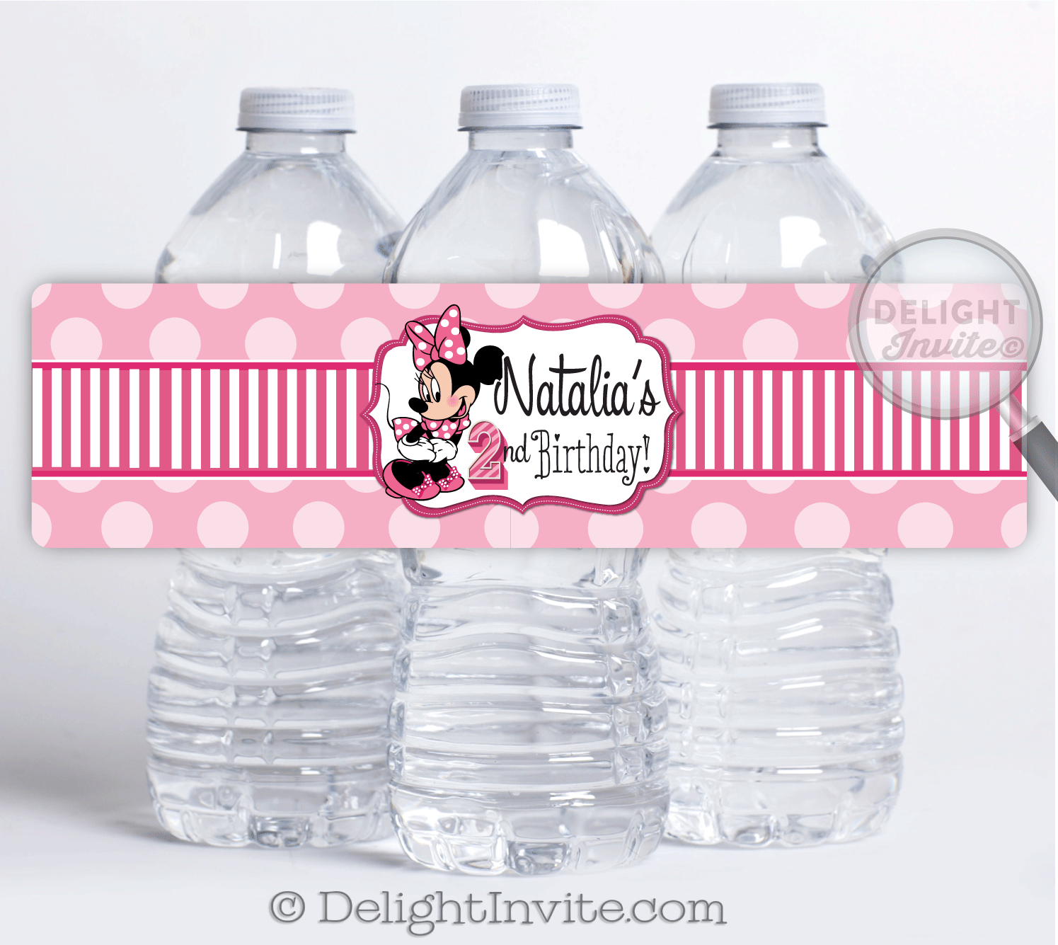 Minnie Mouse Birthday Water Bottle Labels DI 217WB