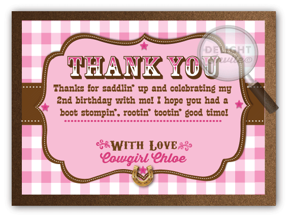 Pink western cowgirl birthday thank you cards di 233ty ministry pink western cowgirl birthday thank you cards m4hsunfo