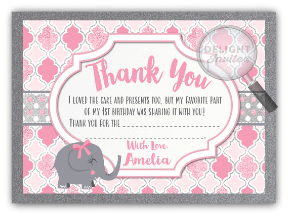 Pink Elephant 1st Birthday Thank You Cards Di 266ty Ministry