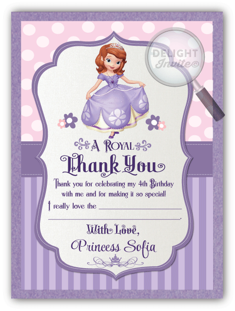 Sofia the first birthday invitations di 267 ministry greetings sofia the first thank you cards stopboris Gallery