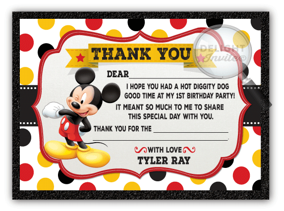 Mickey Mouse Thank You Cards Di 303ty Ministry Greetings