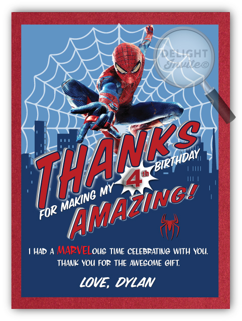 Amazing Spiderman Thank You Cards
