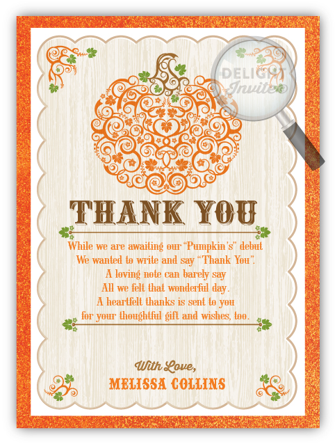 Little Pumpkin Baby Shower Thank You Cards Di 4539ty Ministry