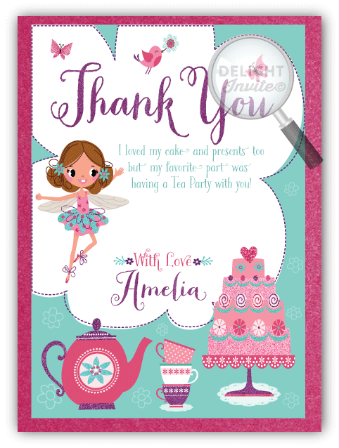 Tea Party Fairy Thank You Cards Di 687ty Ministry Greetings