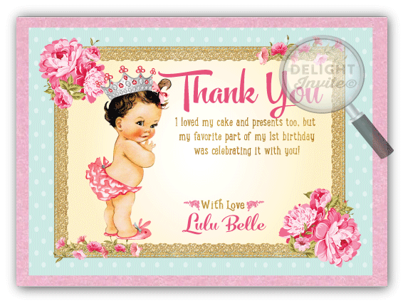 Vintage Princess Baby 1st Birthday Invitations DI693 Ministry – 1st Birthday Thank You Cards