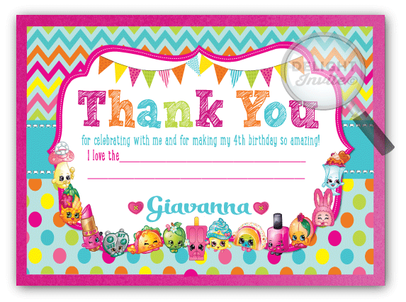 Shopkins Thank You Cards