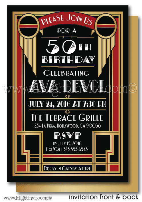 Art Deco Gatsby 50th Birthday Invitations For Women Di