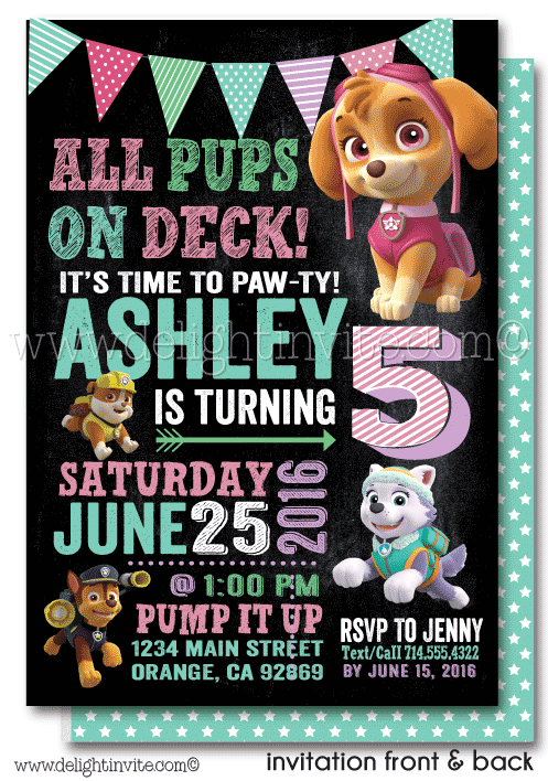 Printable Digital Girl Skye Paw Patrol Birthday Invitation