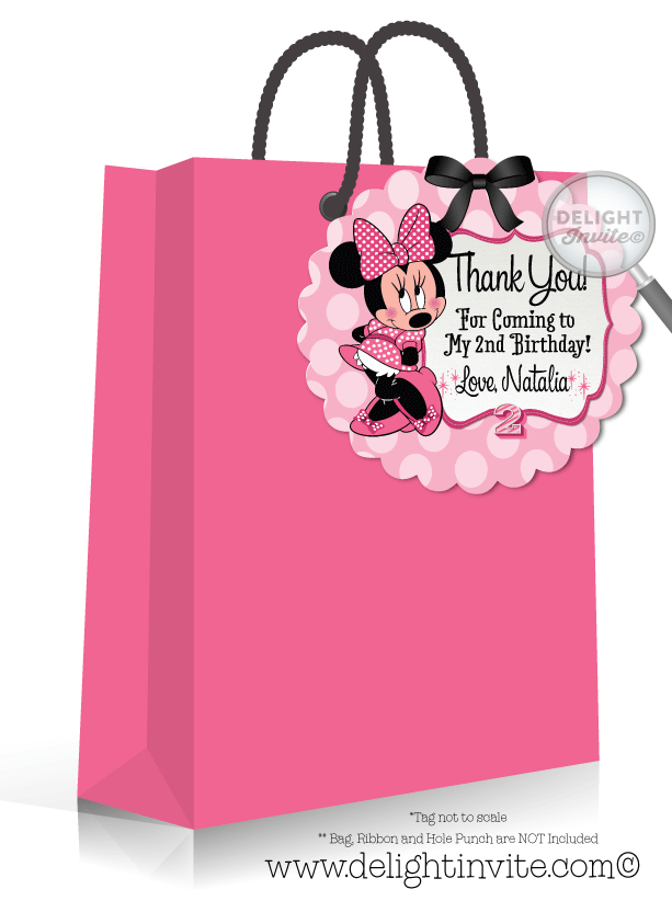 retro pink minnie mouse favor tags di 217ft ministry greetings
