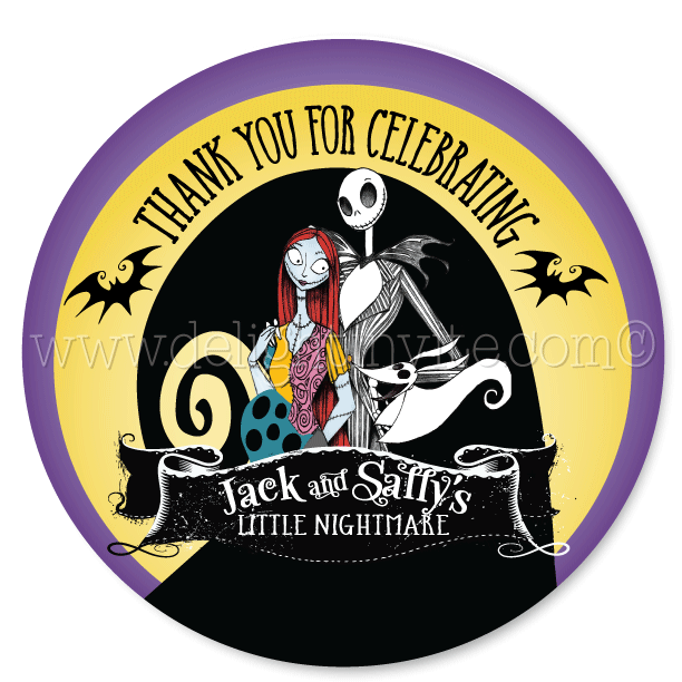 nightmare before christmas baby shower favor tags