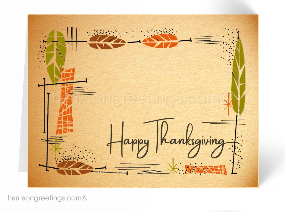 Mid-Century Modern Thanksgiving Greeting Cards