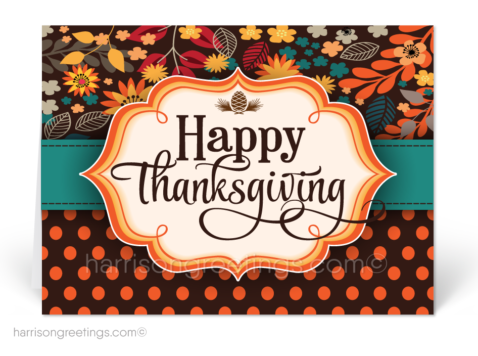 Retro Modern Thanksgiving Greeting Cards