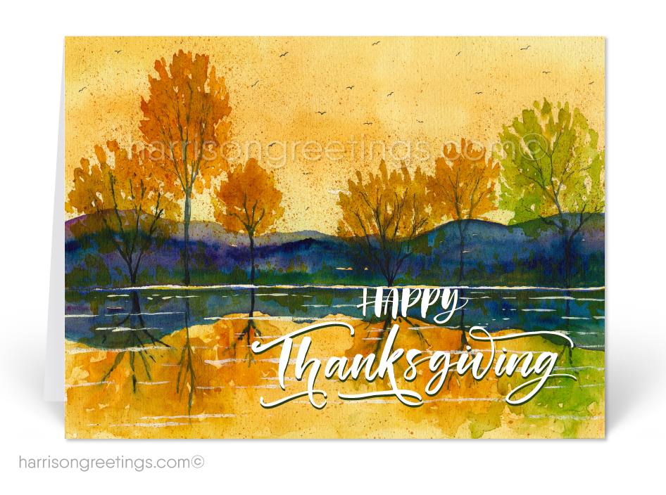 Watercolor Thanksgiving Greeting Cards