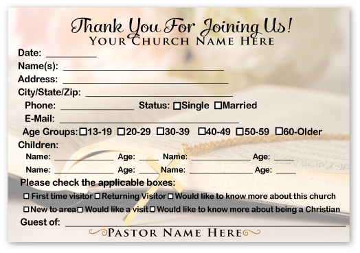 Free church visitor card templates church welcome visitor card template m4hsunfo