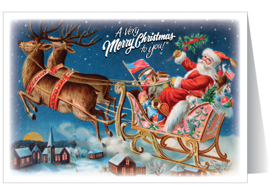 Old Fashioned Santa & Sleigh Christmas Card