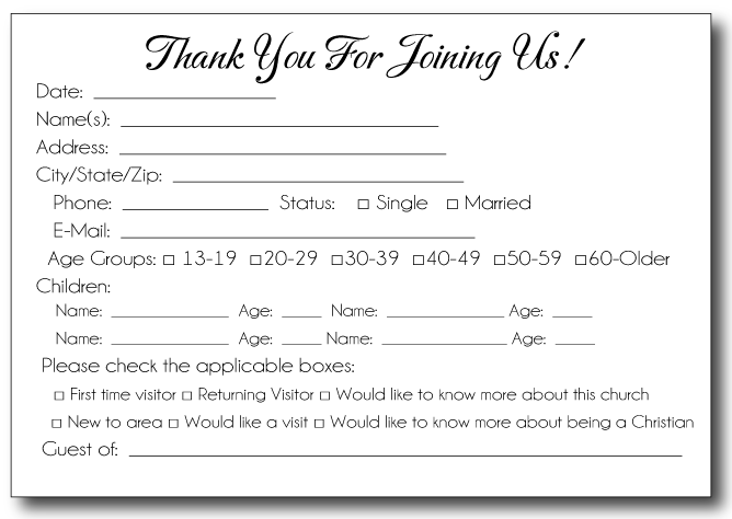 Church visitor card template visitor card template church visitor card template m4hsunfo
