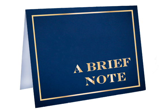 A Brief Note We Miss You Foil Stamped Greeting Card