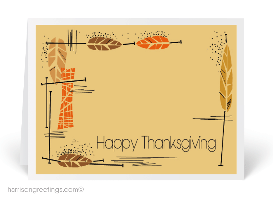 Mid Century Modern Thanksgiving Greeting Cards