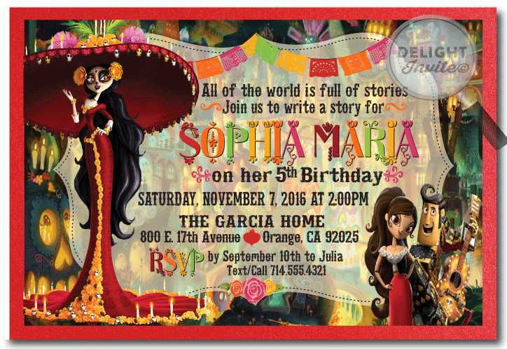 Day of the dead book of life birthday invitations di 686 day of the dead book of life birthday invitations m4hsunfo