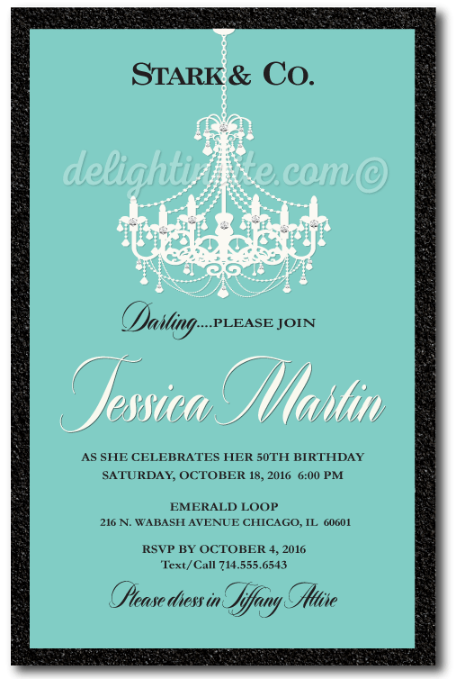 Breakfast At Tiffanys Chandelier 50th Birthday Invitations DI 478