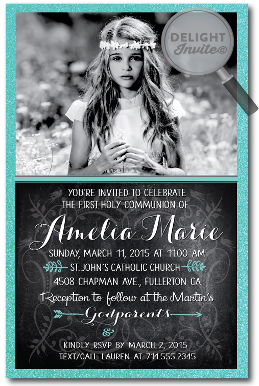 Vintage Chalkboard Tiffany Blue Communion Invitation