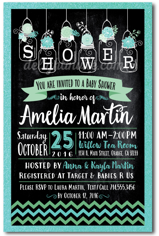 Chalkboard Mason Jar Floral Baby Shower Invitations Di 4528