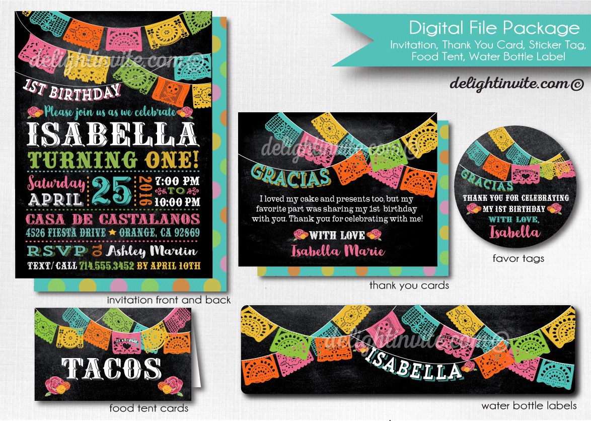 Fiesta Birthday Party Bundle Printable Set Di 623dpset Ministry