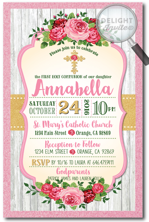 Vintage Shabby Chic Communion Invitation for Girls